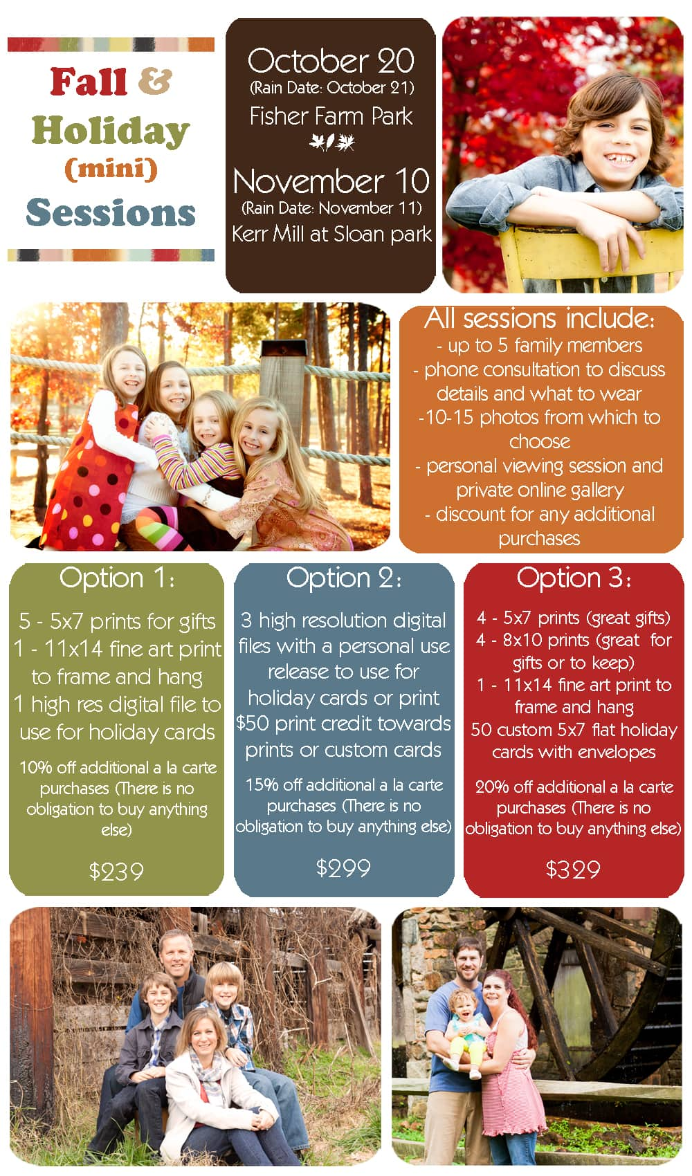 Fall and Holiday Mini Sessions for 2012