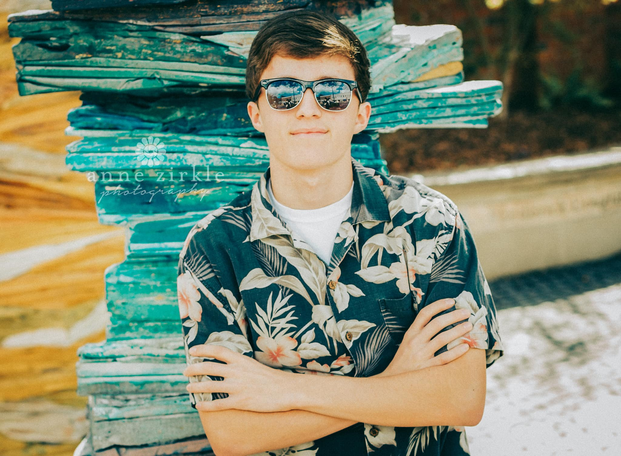 senior boy in Hawaiian shirt and sunglasses #mooresville #northcarolina #davidson #lakenorman #southiredell #pinelakeprep #highschool #highschoolsenior #highschoolseniors #seniors