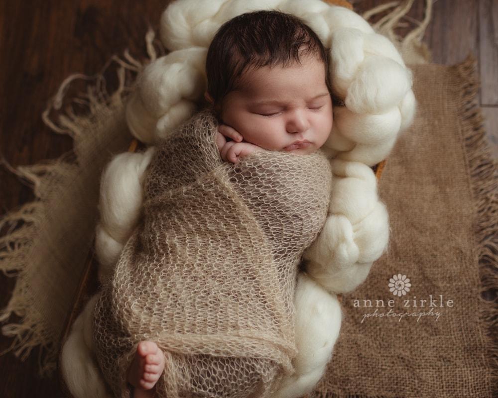 newborn boy in tiny bed | #annezirklephotography #newborn #mooresville #lakenorman #cornelius, #huntersville #davidson #denver #sherrillsford #troutman