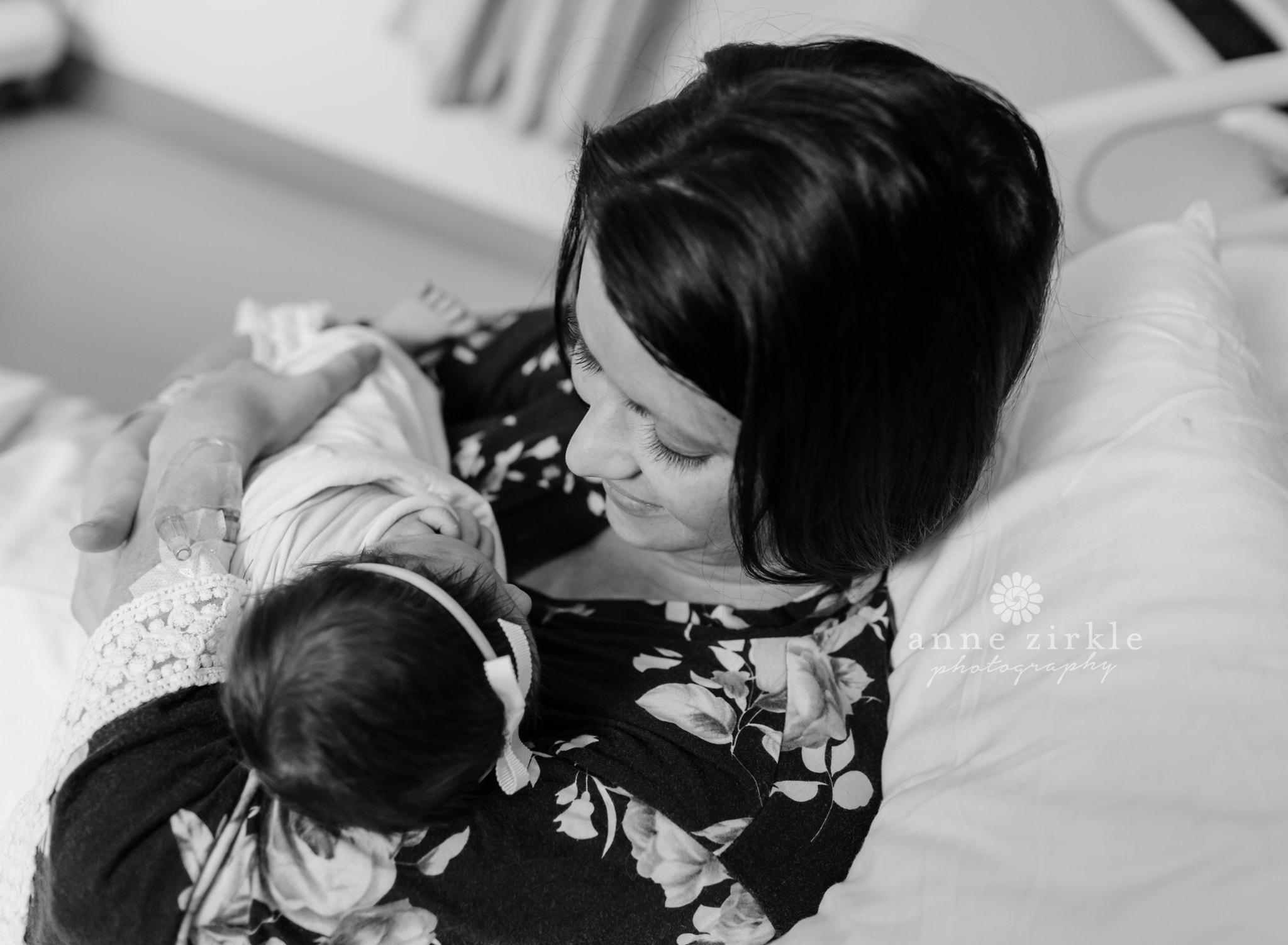 newborn girl and mom fresh 48 hospital Mooresville and Lake Norman newborn baby photographer