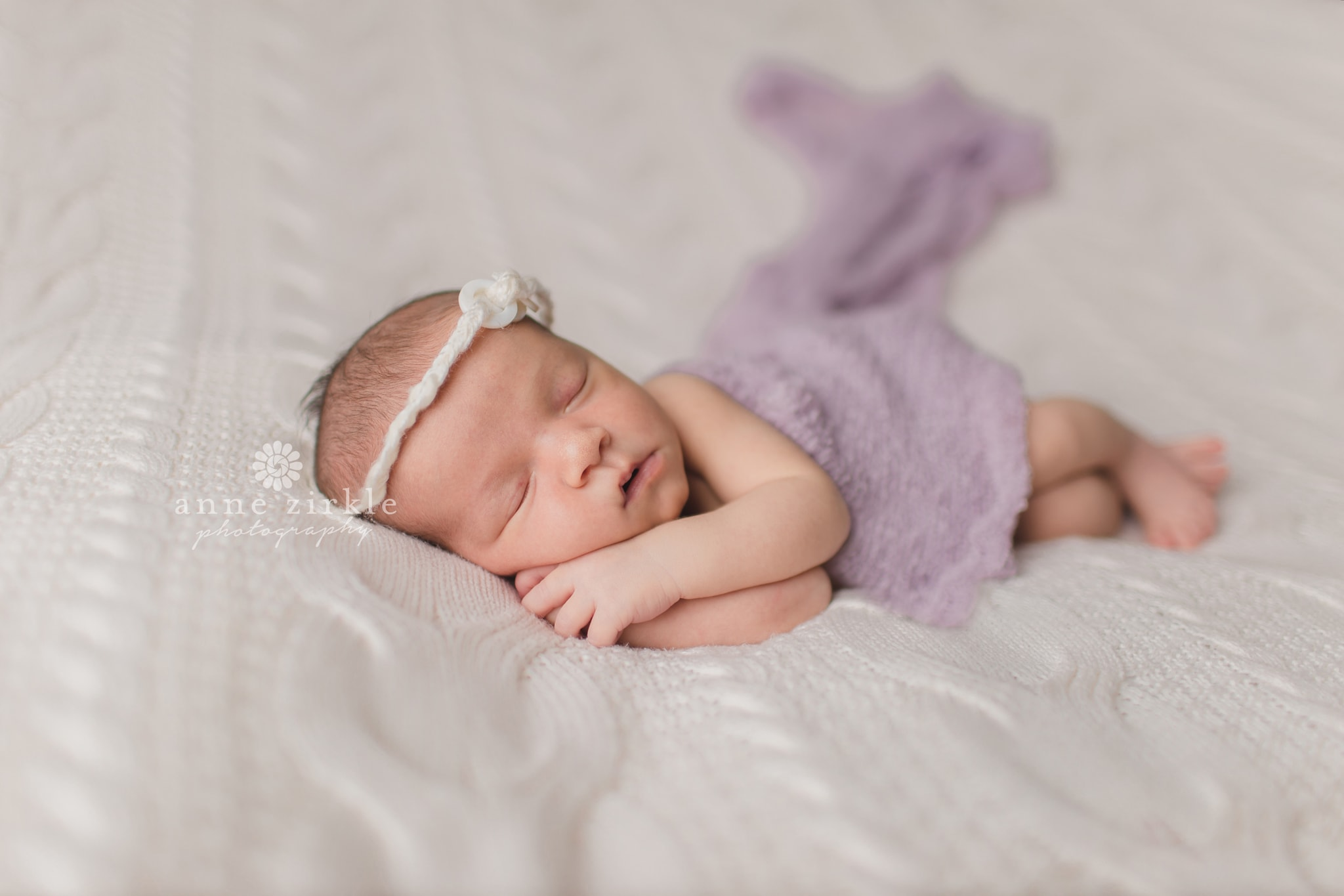 newborn girl with lavender wrap Mooresville and Lake Norman newborn baby photographer