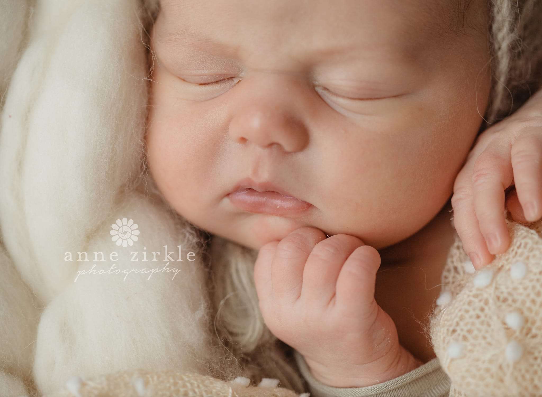 newborn in bonnet close up of face Mooresville and Lake Norman newborn baby photographer