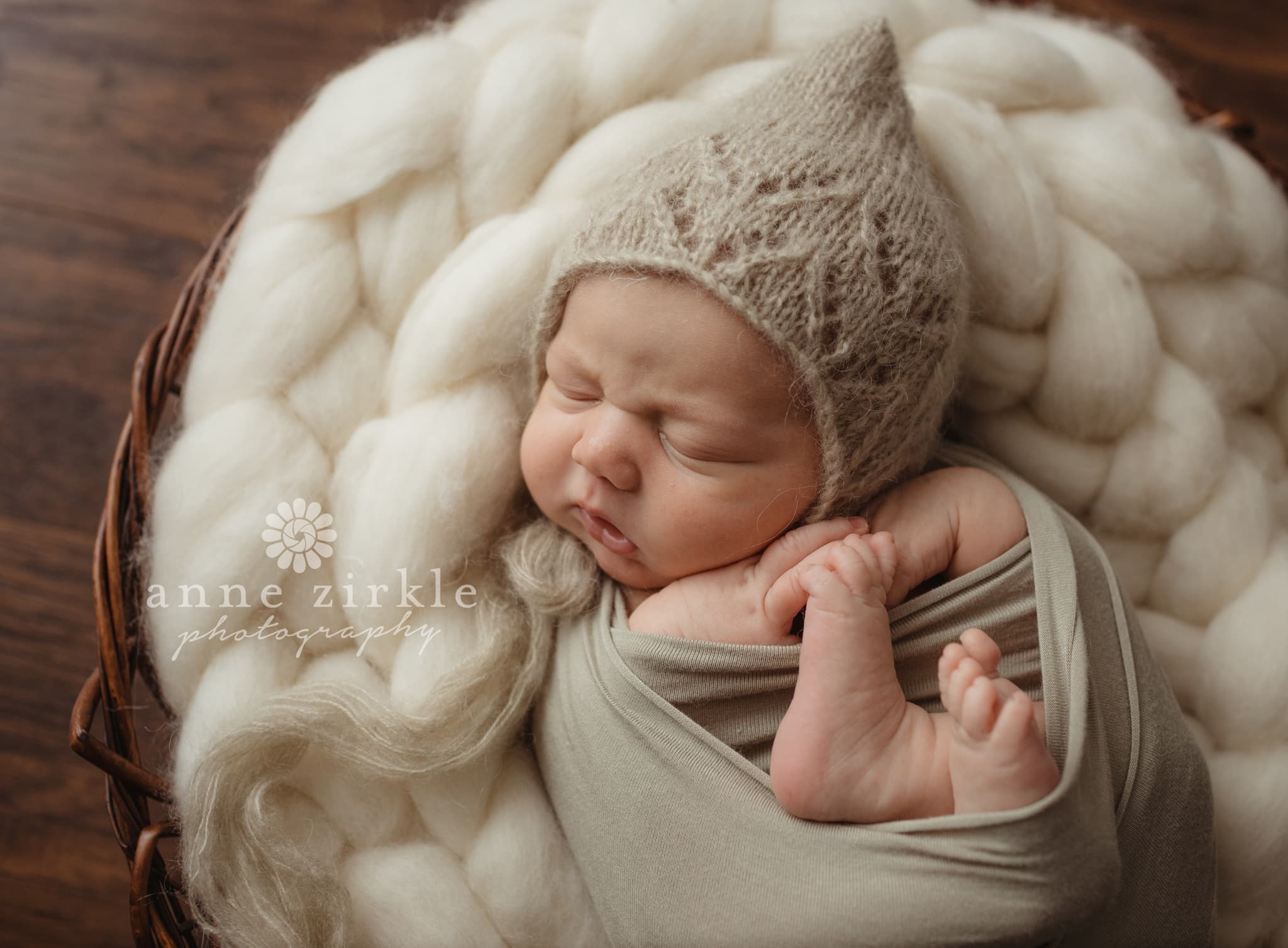 newborn in knit elf bonnet Mooresville and Lake Norman newborn baby photographer