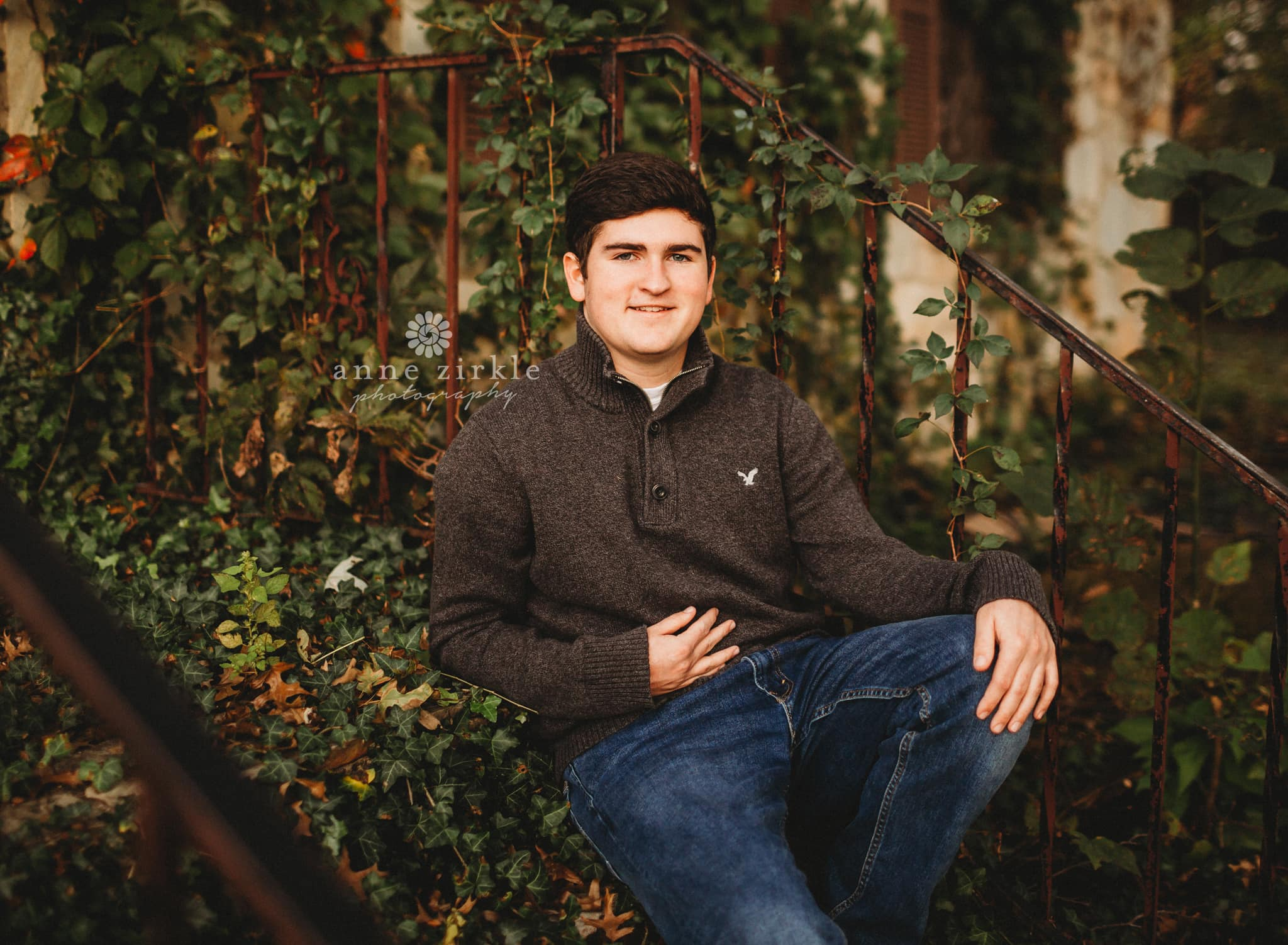 senior boy sitting on old stairs covered in ivy #mooresville #northcarolina #davidson #lakenorman #southiredell #pinelakeprep #highschool #highschoolsenior #highschoolseniors #seniors